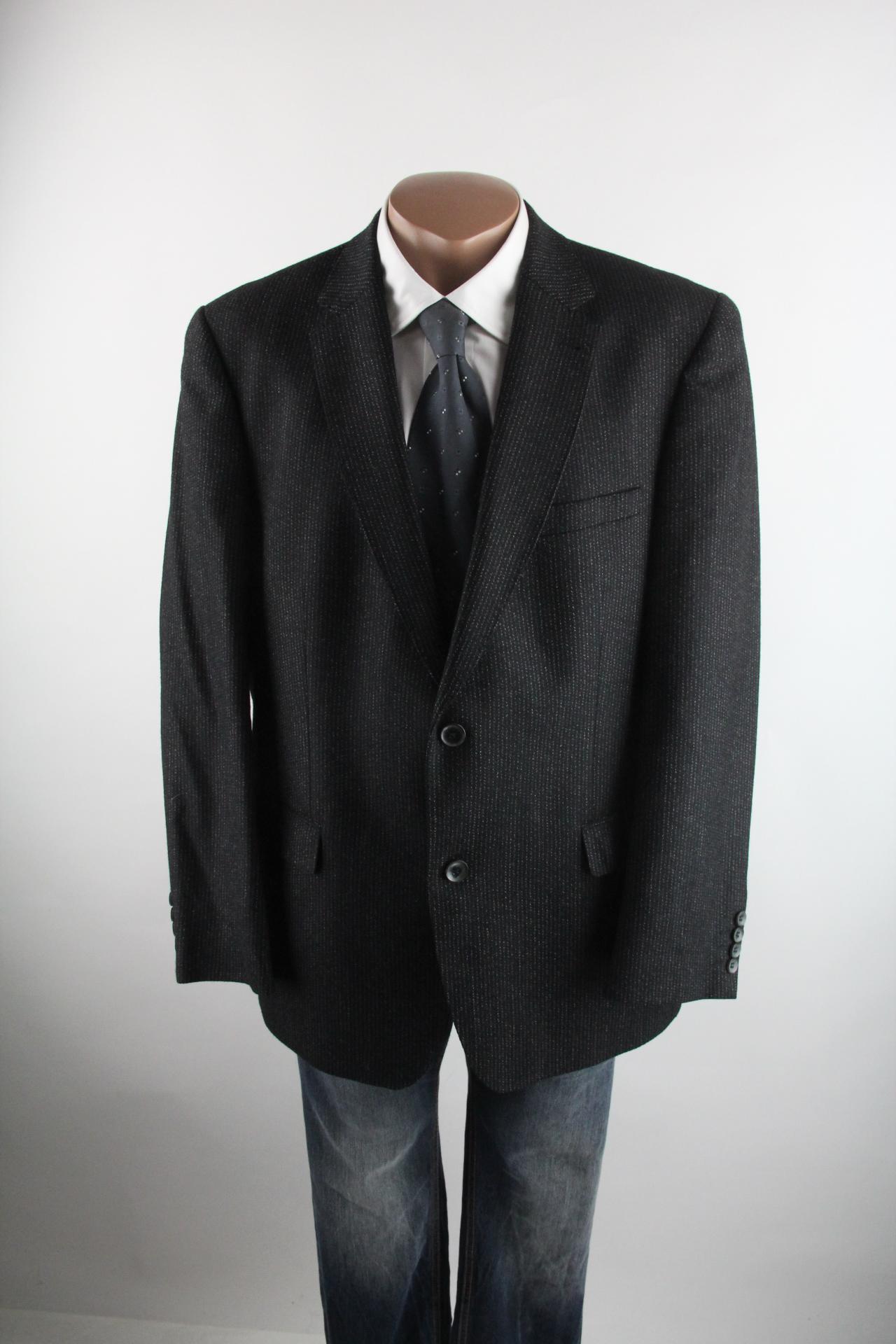 Details zu Mario Barutti schwarz graues Sakko Größe 27XL Schurwolle Kaschmir Top Zustand