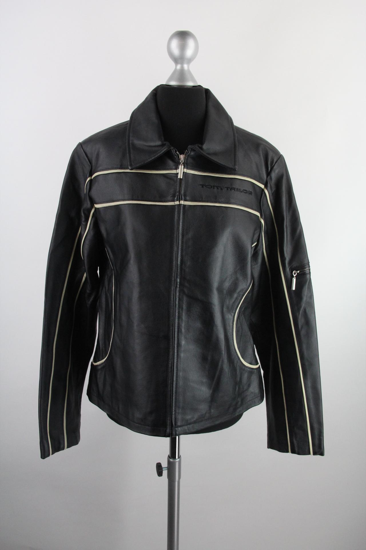 Tom Tailor schwarze Herren-Lederjacke mit Reißverschluss Gr.L Top ... 0a43d76897