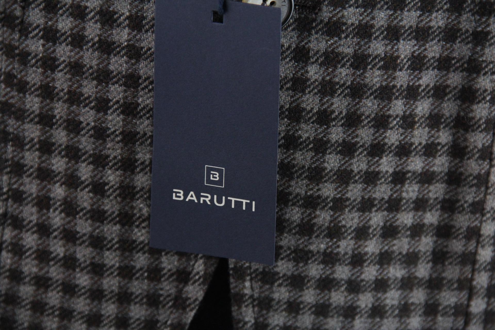Barutti braun-grau-kariertes Sakko Gr.48 S Schurwolle Kaschmir Zwei ... 288fd6a9f1